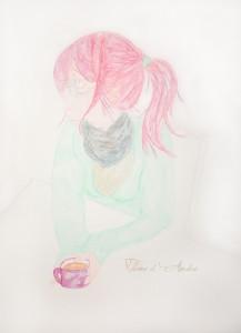 Jeune femme à la tasse de thé, aquarelle