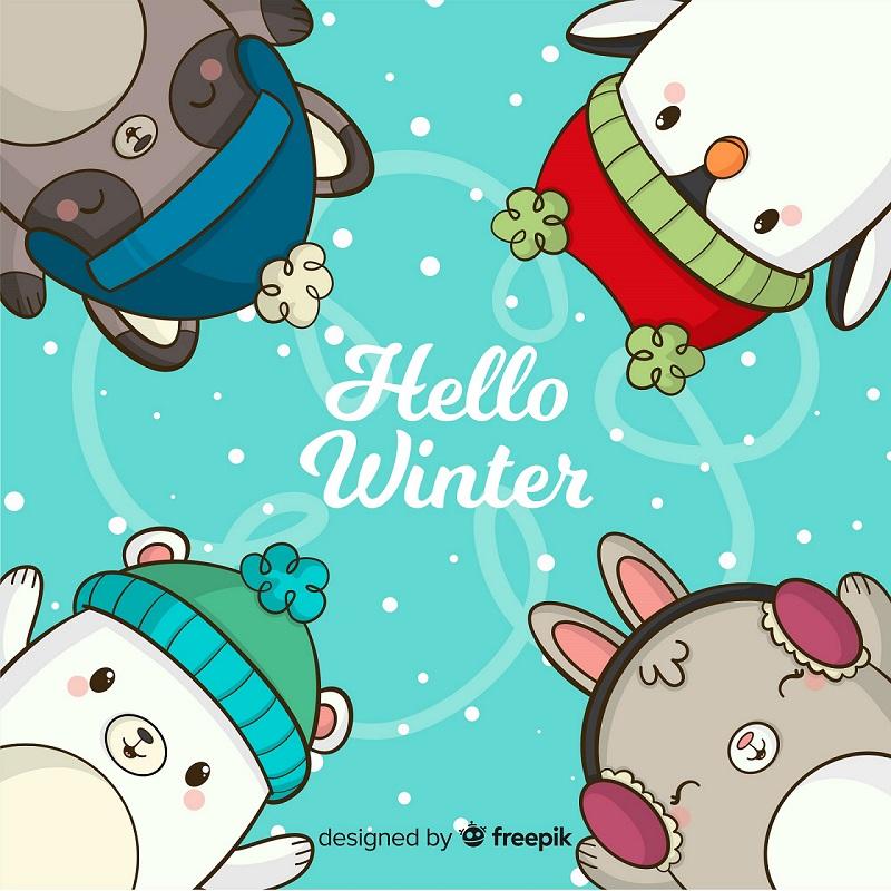 """Un lapin, un ours, un raton laveur et un penguin qui disent """"Hello Winter"""""""